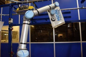 overhead conveyor with collaborative robot